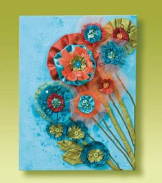 Canvas With Fabric Flowers