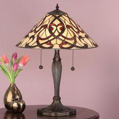 Lampada da Tavolo Tiffany Gialla e Rossa