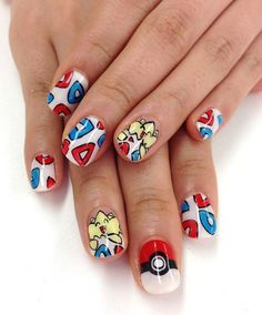 Pokemon nail art!! Not sure who's original nails these r! So cute!!!!