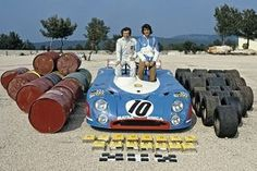 "motorsportsarchives: "" J-P Beltoise & François Cevert display their Matra MS670B & its 1973 Le Mans consumables. """