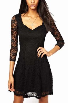 You really should not lack this classic mini dress. It features a sexy V-neck, floral lace three-quarter sleeves, A-line skirt design. You can wear a long necklace to match it. It can bring you a different experience that you never known.