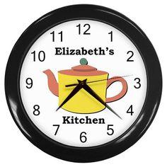 Personalized+Yellow+Teapot+Kitchen+Wall+Clock
