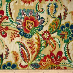 Richloom R Gallery Ayers Jewel from @fabricdotcom  Screen printed on (approx. 8 ounce) cotton slub duck, this versatile, medium weight fabric is perfect for window accents (draperies, valances, curtains and swags), accent pillows, bed skirts, duvet covers, slipcovers, upholstery and other home decor accents. Create handbags, tote bags, aprons and more. Colors include plum, cherry, gold, blue, teal green and cream.