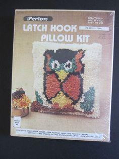 "Latch Hook Owl Pillow Kit PK 8013 Perlon 12"" x 12"" New in Sealed Pkg. Vintage #Perlon"