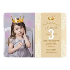 #Add A Princess Crown To Your Photo Invitation - #birthdayinvitation #birthday #party #invitation #cool #parties #invitations