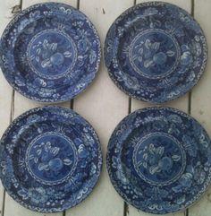 "5 Dark Blue Transferware Plates ""Fruit Flowers"" 1820 | eBay"