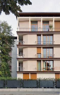a+t - Ignazio Gardella. Casa al Parco (Casa Tognella). Facade Architecture, Residential Architecture, Building Exterior, Building A House, Social Housing, Facade Design, Facade House, Milan, My House
