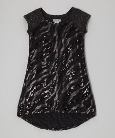Look what I found on #zulily! Black Zebra Sequin Hi-Low Dress #zulilyfinds