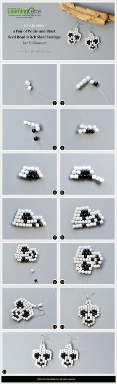 How to Make a Pair of White and Black Seed Bead Stitch Skull Earrings for Halloween from LC.Pandahall.com