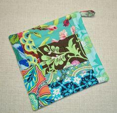 Turquoise Amy Butler Pot Holder  Trivet  Hot Pad by Bonbonsandmore, $7.00
