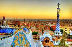 antoni gaudi, colors, parks, barcelonaspain, parc guell, architecture, places, travel, barcelona spain