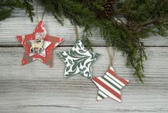 Create ornaments with wood pieces and scrapbook paper from Ben Franklin Crafts and Frame Shop in Bonney Lake, Wa.