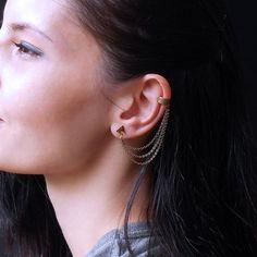 Triangle Chain Ear Cuff Earrings Antique Bronze Triple