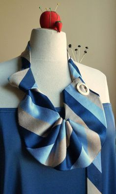 NEW necklace . vintage silk tie . nouveau jabot in blue and gold stripes necktie . le Paris. $30.00, via Etsy.