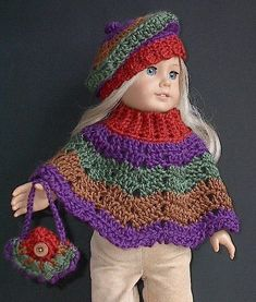 American Girl Doll Clothes   Poncho Set  Crocheted by Lavenderlore