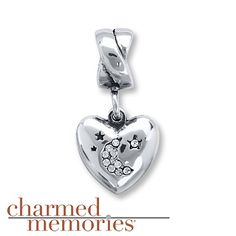 Charmed Memories Heart Moon Charm Sterling Silver