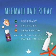 Check out our DIY mermaid hair serum and spray recipes! Packed with sweet scents that'll keep your tresses shiny and silky even in the dry heat. Essential Oils Room Spray, Cedarwood Essential Oil, Essential Oils For Hair, Essential Oil Diffuser Blends, Young Living Essential Oils, Cedarwood Oil For Hair, Mixing Essential Oils, Lavender Essential Oils, Essential Oils