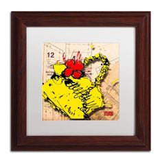 'Flower Purse Red on Yellow' by Roderick Stevens Framed Graphic Art