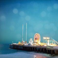 Ferris Wheel photo, Atlantic City, whimsical dreamy nursery decor, nursery art, blue teal ocean lights, beach pier at dusk, amusement park