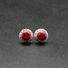 Ruby Stud Earrings, Men/Women Sterling Silver Small Studs with Natural Red Ruby Gemstone, July Birthstone Studs, MensJewelry, Ruby Jewelry Mens Diamond Stud Earrings, Stud Earrings For Men, Ruby Jewelry, Jewelry Shop, Gold Jewelry, Jewlery, Ruby Gemstone, Gemstone Earrings, Silver Earrings