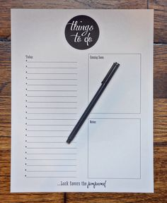 Things to Do: Free Printable