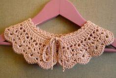 Crochet collar dusty pink cotton blend. $16.00, via Etsy.