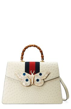 Falena Moth Ostrich Leather Satchel