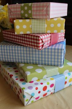 Paper Ribbon from Paperjacks with gift wraps from Paper Source and Pottery Barn Kids.