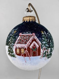 GINGERBREAD HOUSE, hand painted Christmas ornament, acrylic painted continuous winter landscape, gingerbread cabin w/ icicles in snowy woods Christmas Wood, Christmas Balls, Christmas Projects, Christmas Ideas, Handpainted Christmas Ornaments, Hand Painted Ornaments, Wood Ornaments, Clear Ornaments, House Ornaments
