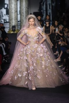 Pretty in Pink - Gorgeous Light Pink And Beige Beaded Wedding Dress with Flowers by Elie Saab, Look #55