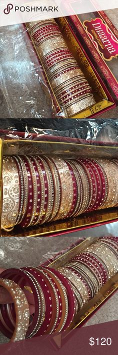 NEW! One set Indian Bridal Bangles. Best quality Full of crystals, best quality, strong not made from glass. Size 2X8 one set (left and right hand) Jewelry Bracelets