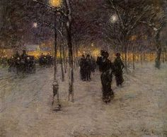 Vintage 1902, Childe Hassam, Early Evening, Union Square, NYC, www.RevWill.com