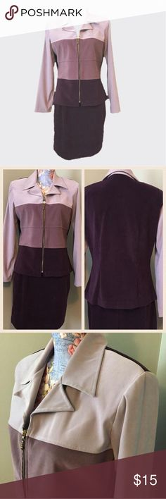 "2pc Ombré Suit 2pc Ombré Suit 3 shades of purple😍 Suit jacket has padded shoulders and zipper front. Skirt is one shade of purple and matches the darkest color on jacket and has zipper in the back. Skirt is 19"" total length. Only wore for certain occasions, colors look fantastic 🌟sz 9-10🌟 Dawn Joy collection 97% polyester 3% spandex women's size 10 Other"