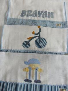 Kit fralda de boca com acabamento em tecido 100% algodão, sianinha e bordado. Faço nas cores e tema a escolha do cliente R$ 45,00