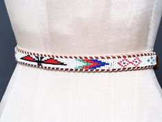 Vintage 70s 80s Indian Beaded Leather Belt