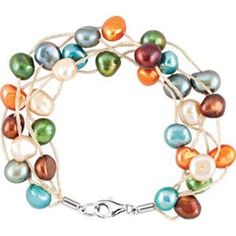 Freshwater Cultured Dyed Multi-color pearl Bracelet