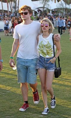 Emma Roberts and Evan Peters | Celebrities At Coachella, Week One