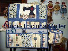Jogo de costura: capa, tapete para máquina e lixeirinha. by Bee Happy Country Studio, via Flickr