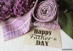 Beautiful purple lilac and tie for father's day. Greeting card. Abstract concept…