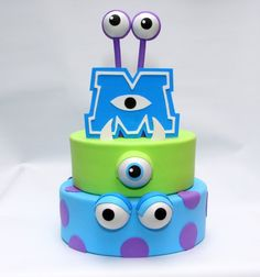 Trendy Cake Birthday Boy Disney Monsters Inc Ideas Trendy Cake Birthday Boy Disney Monsters Inc Ideas Monster Inc Party, Monster Inc Cakes, Monster University Birthday, Monster Inc Birthday, Fondant Baby, Fondant Cakes, Cupcake Cakes, Bolo Fake Eva, Bolo Fack