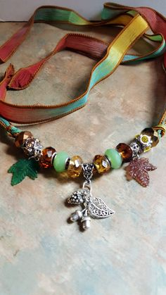 Lovely Autumn Silk Ribbon Necklace by WolfMountainJewelry on Etsy  29.00