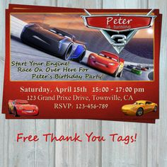 Cars 3 Birthday Invitation MCQueen By PorsyPartyPrintable Invitations Banners Car