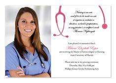 Brunette Nurse Graduation Invitations 200 PaperStylecom