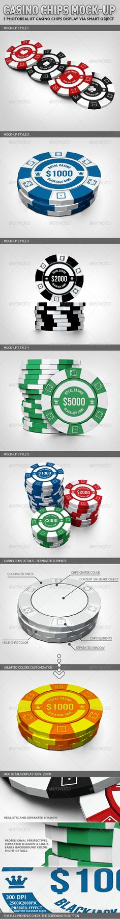 Show casino chips with style. Now, you can create a realistic casino chips display within few seconds. These PSD files make use of Smart-Object feature, so mock-up content can be replaced quickly and easily.