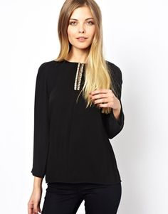 f51cd505a5e90 Ted Baker Woven Top with Beaded Placket at asos.com