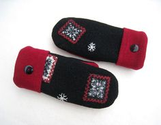 Felted Wool Sweater Mittens Fleece Lined Black by CristinesMittens