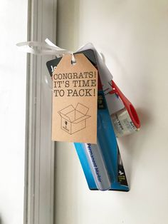Realtors and other salespeople are always looking for creative, inexpensive gifts to deliver to their clients. This pop-by tag is perfect for a permanent marker, packing tape, and a pizza gift card. Tie up with some shiny ribbon, and your pop-by is ready! When you purchase the Time to