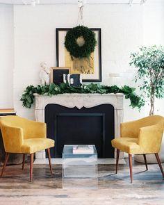 Yellow chairs, not yellow walls - still just right. Chapman Interiors Blog