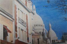Montmartre, Parijs, (schilderij/painting van/by Bob Bosma, Heiloo)