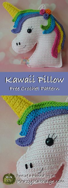 Unicorn Free Crochet Patterns – Krazykabbage #crochet #freecrochetpattern #unicorn #girl #gift #craft #kawaii #pillow